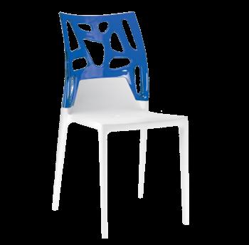 Стілець Papatya Ego-Rock біле сидіння, верх прозоро-синій