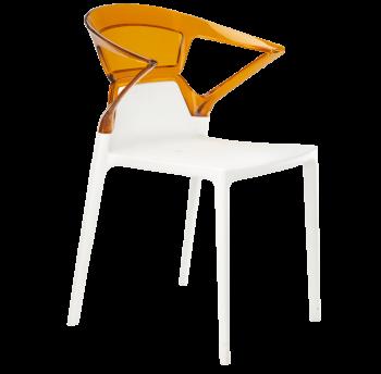 Крісло Papatya Ego-K біле сидіння, верх прозоро-помаранчевий