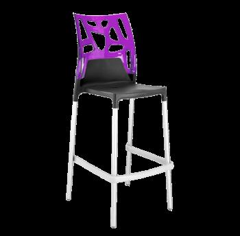 Барный стул Papatya Ego-Rock антрацит сиденье, верх прозрачно-пурпурный