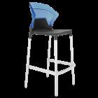 Барний стілець Papatya Ego-S чорне сидіння, верх прозоро-синій