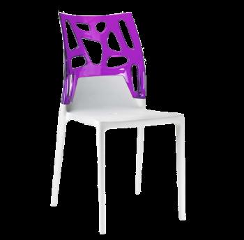 Стілець Papatya Ego-Rock біле сидіння, верх прозоро-пурпурний