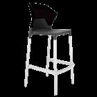 Барний стілець Papatya Ego-S антрацит сидіння, верх чорний