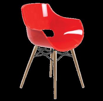 Крісло Papatya Opal-Wox червоне, рама натуральний бук