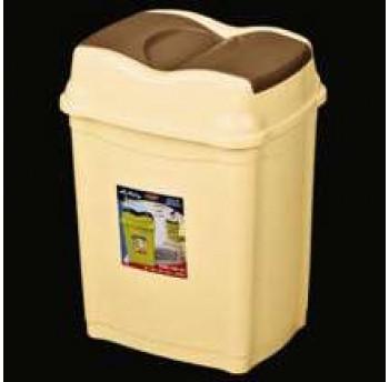 Ведро для мусора прямоугольное с 2-мя поворотными клапанами в крышке 15л