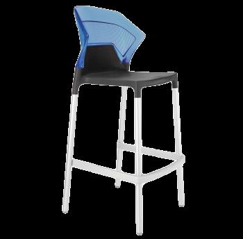 Барний стілець Papatya Ego-S антрацит сидіння, верх прозоро-синій