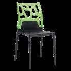 Стілець Papatya Ego-Rock чорне сидіння, верх прозоро-зелений