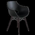 Кресло Papatya Opal-Wox матовый черный, рама лакированный бук венге