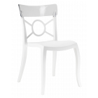Стул Papatya Opera-S сиденье белое, верх прозрачно-чистый