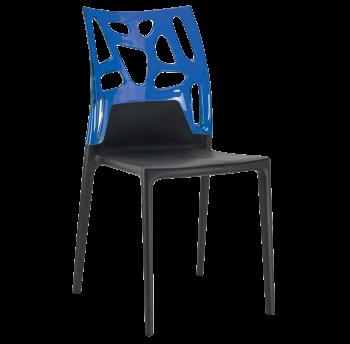 Стул Papatya Ego-Rock черное сиденье, верх прозрачно-синий