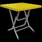 Стол складной квадратный с металлическими ножками желтый