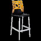 Барний стілець Papatya Ego-Rock чорне сидіння, верх прозоро-помаранчевий