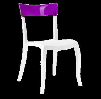 Стул Papatya Hera-S белое сиденье, верх прозрачно-пурпурный