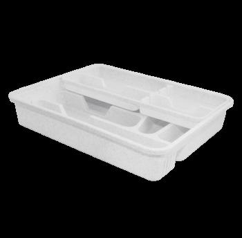 Лоток для столовых приборов со вставкой белый флок