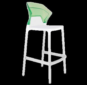 Барный стул Papatya Ego-S белое сиденье, верх прозрачно-зеленый