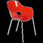 Крісло Papatya Opal прозоро-червоне, база хром