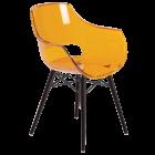 Крісло Papatya Opal-Wox прозоро-помаранчеве, рама лакований бук венге