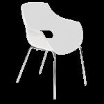 Кресло Papatya Opal матовое белое, база хром