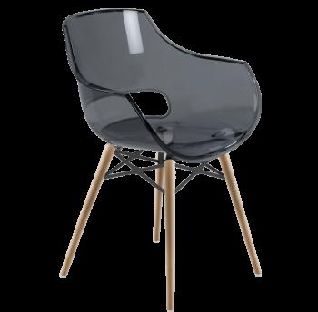 Кресло Papatya Opal-Wox прозрачно-серое, рама натуральный бук