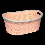 Корзина для белья овальная под ротанг 25 л оранжевая