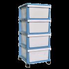 Комод пластиковый 4 уровня голубой