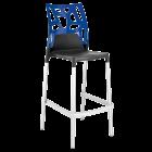 Барный стул Papatya Ego-Rock антрацит сиденье, верх прозрачно-синий