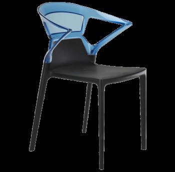 Крісло Papatya Ego-K чорне сидіння, верх прозоро-синій