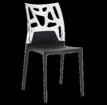 Стул Papatya Ego-Rock чёрное сиденье, верх прозрачно-чистый