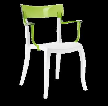 Крісло Papatya Hera-K біле сидіння, верх прозоро-зелений
