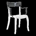 Кресло Papatya Hera-K белое сиденье, верх прозрачно-дымчатый