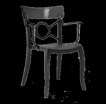 Кресло Papatya Opera-K сиденье черное, верх прозрачно-дымчатый