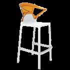 Барное кресло Papatya Ego-K белое сиденье, верх прозрачно-оранжевый