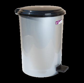 Ведро для мусора с педалью Irak Plastik №4 35л серый металлик