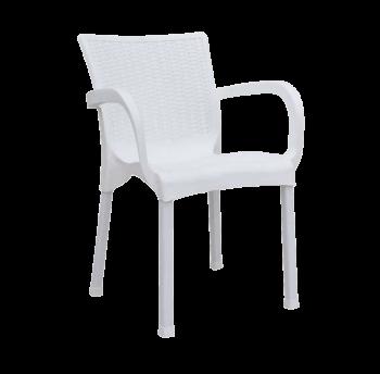Кресло Орхидея под ротанг белое