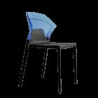 Стілець Papatya Ego-S чорне сидіння, верх прозоро-синій