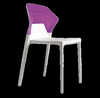 Стілець Papatya Ego-S біле сидіння, верх прозоро-пурпурний