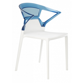 Кресло Papatya Ego-K белое сиденье, верх прозрачно-синий