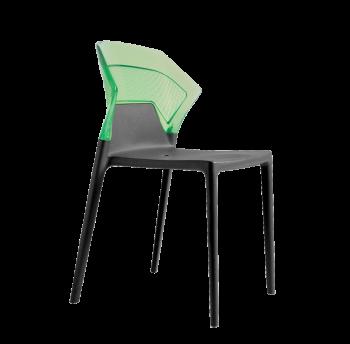 Стілець Papatya Ego-S антрацит сидіння, верх прозоро-зелений