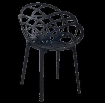 Крісло Papatya Flora матово-чорне сидіння, ніжки матові чорні