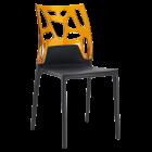 Стул Papatya Ego-Rock черное сиденье, верх прозрачно-оранжевый