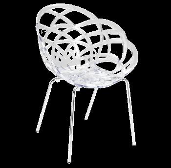 Кресло Papatya Flora-ML прозрачно-чистое сиденье, ножки хром