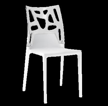 Стілець Papatya Ego-Rock біле сидіння, верх прозоро-чистий