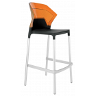 Барний стілець Papatya Ego-S чорне сидіння, верх прозоро-помаранчевий