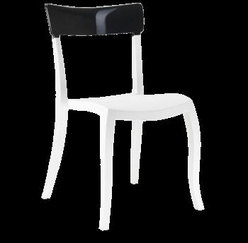 Стілець Papatya Hera-S біле сидіння, верх чорний