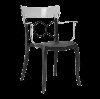 Кресло Papatya Opera-K сиденье черное, верх прозрачно-чистый