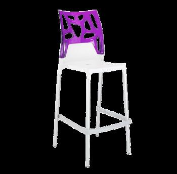 Барний стілець Papatya Ego-Rock біле сидіння, верх прозоро-пурпурний