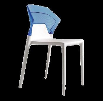 Стілець Papatya Ego-S біле сидіння, верх прозоро-синій