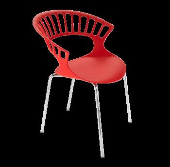 Крісло Papatya Tiara червоний, база хром