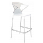 Барное кресло Papatya Ego-K белое сиденье, верх прозрачно-чистый
