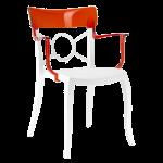 Кресло Papatya Opera-K сиденье белое, верх прозрачно-красный