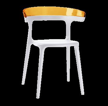 Кресло Papatya Luna белое сиденье, верх прозрачно-оранжевый